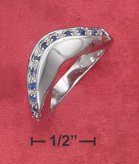 STERLING SILVER  HIGH POLISH SYNTHETIC SAPPHIRE WAVE BAND RING