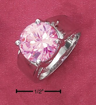 STERLING SILVER 3.5CT ROUND PINK ICE RING ON HIGH POLISH TAPERED BAND.
