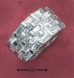 STERLING SILVER WOMENS 5 ROW BAGUETTE CZ BAND