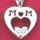 "STERLING SILVER ""MOM"" CUBIC ZIRCONIA HEART PENDANT"