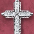 "STERLING SILVER   3"" CZ CROSS W/SCROLLED EDGES & CENTER ""X"" ON LG BAIL"