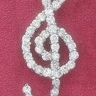 STERLING SILVER CZ G CLEFF PENDANT