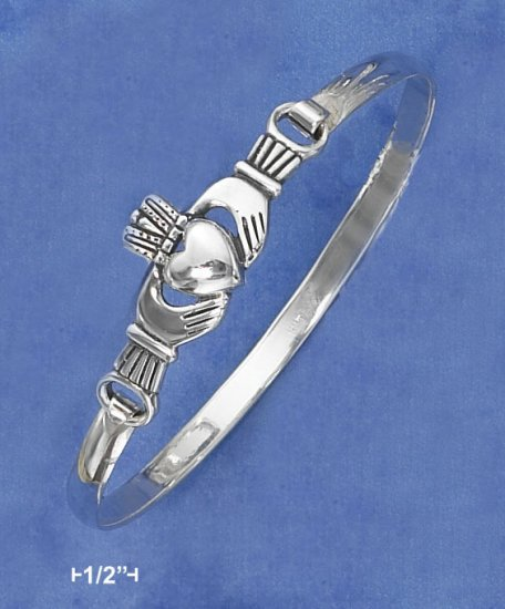 STERLING SILVER ANTIQUED CLADDAGH BANGLE WITH LATCH HOOK CLOSURE