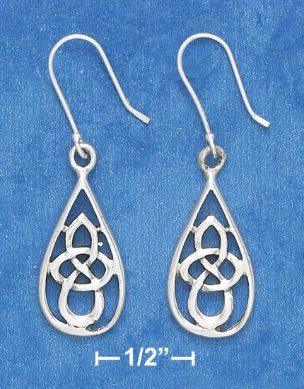 """STERLING SILVER ANTIQUED 7/8"""" OVAL CELTIC SCROLLED DESIGN EARRINGS"""