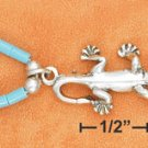"STERLING SILVER 9"" ANKLET W/ TURQUOISE HESHI & GECKO PENDANT"