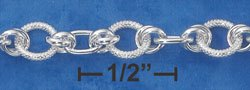 "STERLING SILVER 7"" HIGH POLISH & TEXTURED ROUND LINK TOGGLE BRACELET"