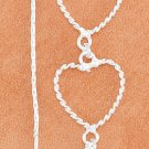 STERLING SILVER 3 TWISTED WIRE OPEN HEARTS & CARDANO CHAIN EAR THREADS
