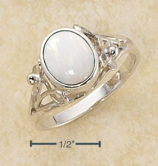 STERLING SILVER OVAL WHITE OPAL RING