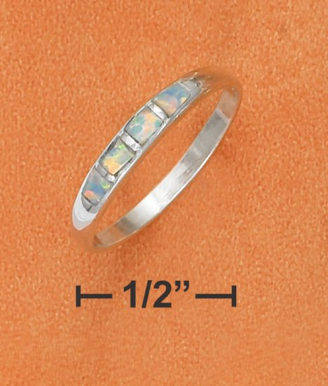 STERLING SILVER 3MM TAPRERED DOME BAND WITH SYNTHETIC OPAL INLAY