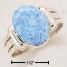 STERLING SILVER SYNTHETIC OVAL BLUE OPAL   RING