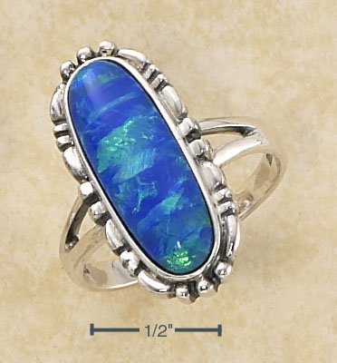 STERLING SILVER ELONGATED OVAL BLUE OPAL RING