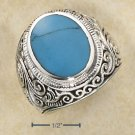STERLING SILVER MENS LG BEZEL SET OVAL TURQUOISE RING W/ SCROLLED  BAN