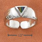 STERLING SILVER TRIANGLE TOE RING WITH ENAMEL INLAY