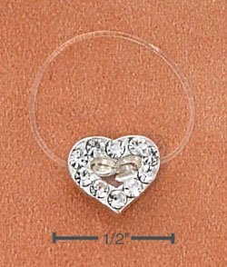 STERLING SILVER JELLYWIRE HEART W/ CLEAR CRYSTALS TOE RING