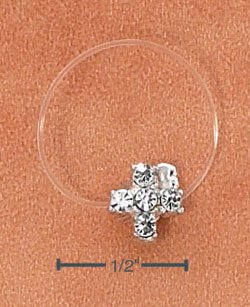 STERLING SILVER JELLYWIRE CROSS W/ CLEAR CRYSTALS TOE RING