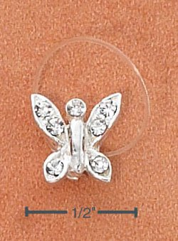 STERLING SILVER JELLYWIRE BUTTERFLY W/ CLEAR CRYSTALS TOE RING