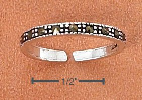 STERLING SILVER TWO MILLIMETER MARCASITE TOE RING