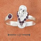 STERLING SILVER SANDAL W/ PURPLE CRYSTALS OPEN WRAP TOE RING