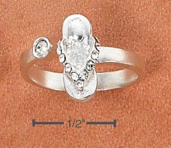 STERLING SILVER SANDAL W/ WHITE CRYSTALS OPEN WRAP TOE RING