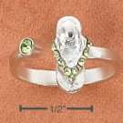STERLING SILVER SANDAL W/ GREEN CRYSTALS OPEN TOE RING