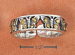STERLING SILVER YELLOW CRYSTALS BUTTERFLIES TOE RING