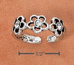 STERLING SILVER TRIPLE DAISY W/ 3 CLEAR CRYSTALS TOE RING