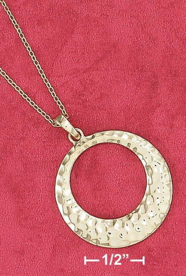 "STERLING SILVER VERMEIL 18"" CABLE NECKLACE 25MM HAMMERED FAT BOTTOM CIRCLE PENDANT"