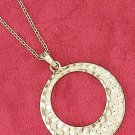 """STERLING SILVER VERMEIL 18"""" CABLE NECKLACE 25MM HAMMERED FAT BOTTOM CIRCLE PENDANT"""