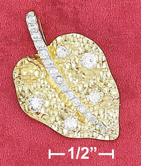 """STERLING SILVER 18"""" VERMEIL 19X30M HAMMERED LEAF PENDANT WITH CZ STEM & ACCENT NECK"""