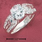 STERLING SILVER WOMENS 9MM OVAL 2.75 CZ RING