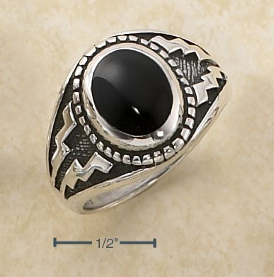 STERLING SILVER OVAL ONYX RING W/ AZTEC DESIGN