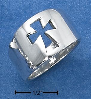 STERLING SILVER UNISEX HIGH POLISH TAPERED BAND WITH CUT-OUT CROSS