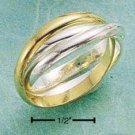 STERLING SILVER & VERMEIL TRIPLE BAND PUZZLE RING