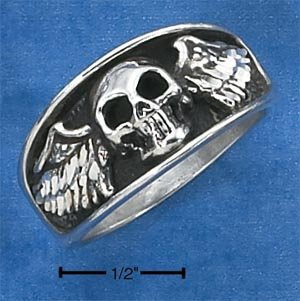 AWESOME STERLING SILVER MENS SKULL WITH WINGS RING.