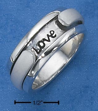 "STERLING SILVER WOMENS ""LIVE WITH ME & BE MY LOVE"" SPINNER RING."