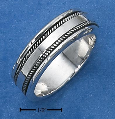 STERLING SILVER MENS SPINNER RING W/ KNURLED EDGE SPINNING BAND.