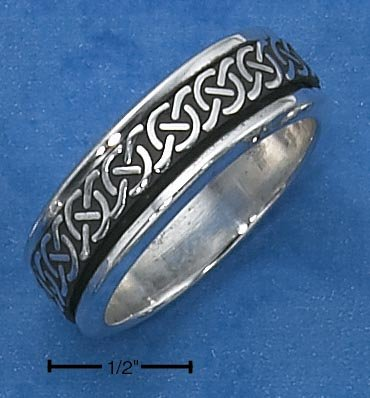 STERLING SILVER MENS ANTIQUED CELTIC KNOT SPINNER BAND.