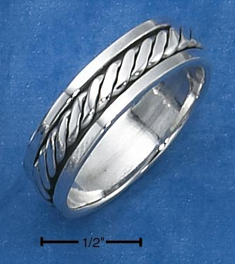 STERLING SILVER  ANTIQUED FLATTEND ROPE SPINNER BAND