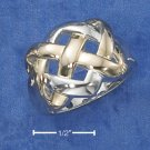 BEAUTIFUL STERLING SILVER WITH 14K GOLD ACCENTS TWO-TONE CELTIC KNOT RING.