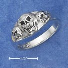 STERLING SILVER TRIPLE SKULL RING WITH BLACK ONYX EYES & NOSE