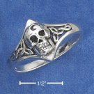 STERLING SILVER  SKULL WITH CRESCENT MOON & CELTIC KNOTS RING (NICKEL FREE)