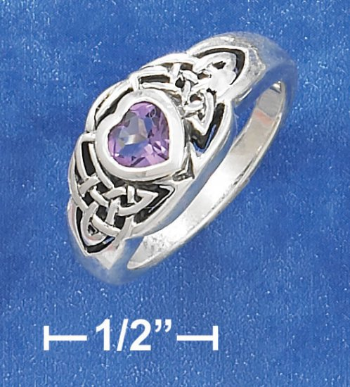 STERLING SILVER ANTIQUED 5MM AMETHYST HEART RING WITH CELTIC KNOTS ON EACH SIDE.