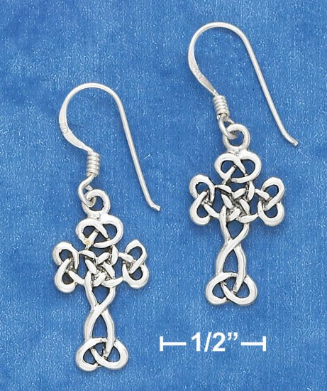 """STERLING SILVER ANTIQUED 7/8"""" SCROLLED CELTIC DESIGN CROSS EARRING ON FRENCH WIRE"""