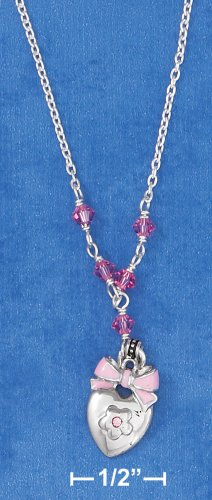 """STERLING SILVER 14""""-16"""" HP ADJ CABLE NECKLACE W/ HEART, FLOWER, BOW & PINK CRYSTALS"""