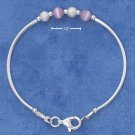 STERLING SILVER ITALIAN CHILDRENS PINK BEAD & STARDUST BEAD BANGLE