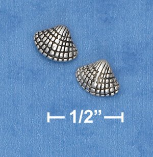 STERLING SILVER ANTIQUED SEA SHELL POST EARRING