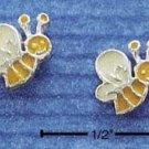 STERLING SILVER YELLOW ENAMEL BUMBLE BEE POST EARRINGS