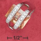 STERLING SILVER RHODIUM PLATED (10X14MM) 8.5 CT RECTANGLE CHAMPAGNE ICE CZ RING WITH PAVE BANDS.