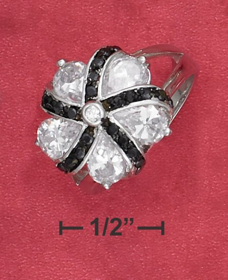 STERLING SILVER RP BLACK AND WHITE CZ FLOWER RING  .