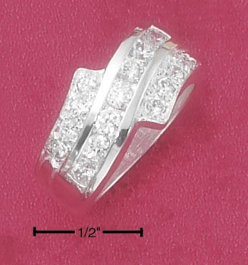 GORGEOUS STERLING SILVER CLEAR CZ WAVE BAND BYPASS RING.